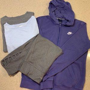 Two long sleeve shirts, hoodie, cropped leggings